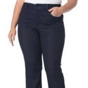 Nydj Black Blue Dark Wash Boot Cut Jeans 16W
